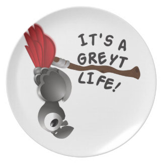 It's a Greyt Life African Grey Parrot Plate