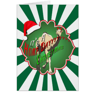 It's A Hump Day Christmas Camel Green Starburst Greeting Card