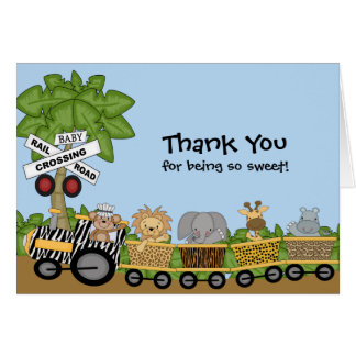 It's a Jungle Baby Train Baby Shower Thank You Card