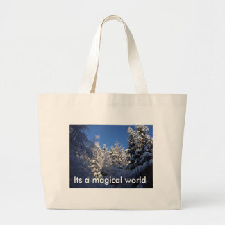 Its a magical world snow capped trees bag