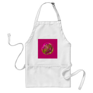 Its a purple and yellow flower in the globe standard apron