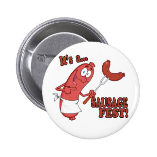 Its a Sausage Fest Funny Sausage Cooking Cartoon 6 Cm Round Badge