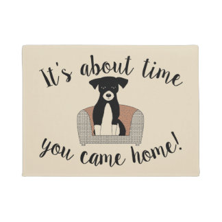 It's About Time Waiting Dog Doormat