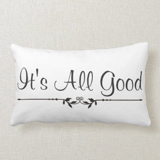 It's All Good Embellished Typography Lumbar Cushion