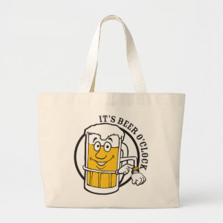 It's always time for Beer- Beer O'clock Large Tote Bag