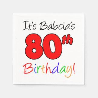 It's Babcia's 80th Birthday Polish Grandma Napkins Disposable Serviette