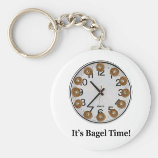 It's Bagel Time! Basic Round Button Key Ring