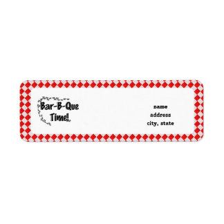 It's BBQ Time! Red Checkered Table Cloth w/Ants Return Address Label
