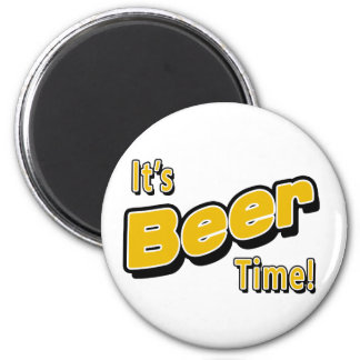 It's Beer Time! 6 Cm Round Magnet
