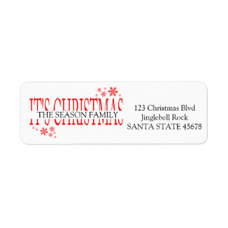 It's Christmas snowflake holiday Label