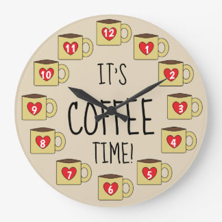 IT'S COFFEE TIME Adorable Coffee Mugs Design Large Clock