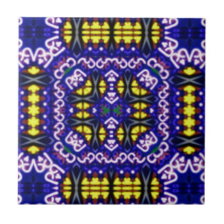 Its Complicated Purple Yellow Symetrical Pattern Small Square Tile