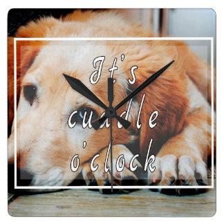 It's cuddle o'clock square wall clock