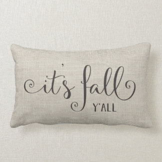 it's fall y'all burlap typography lumbar cushion
