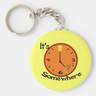 Its Five O'clock Somewhere Basic Round Button Key Ring