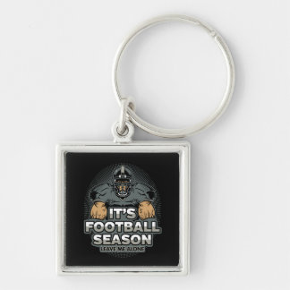 Its Football Season Leave Me Alone Silver-Colored Square Key Ring