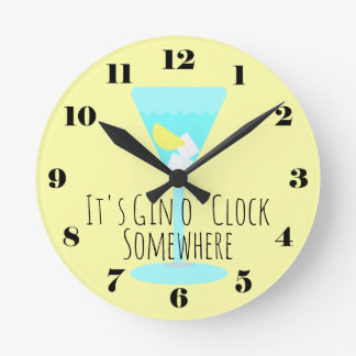 It's Gin o'Clock Somewhere - bar or kitchen Wallclock