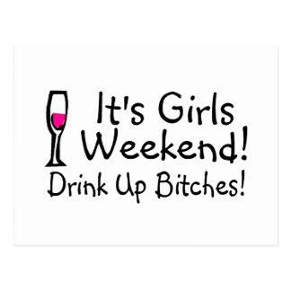Its Girls Weekend Drunk Up Wine Postcard