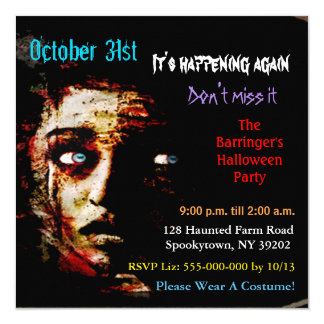 Its Happening AGain  Halloween SQUARE Invitation