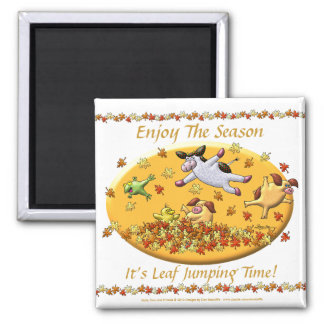 It's Leaf Jumping Time! Square Magnet