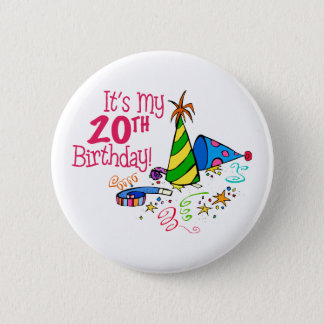 It's My 20th Birthday (Party Hats) 6 Cm Round Badge