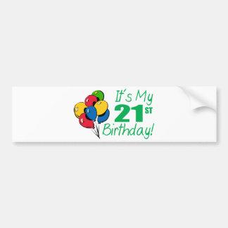 It's My 21st Birthday (Balloons) Bumper Sticker