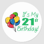 It's My 21st Birthday (Balloons) Sticker