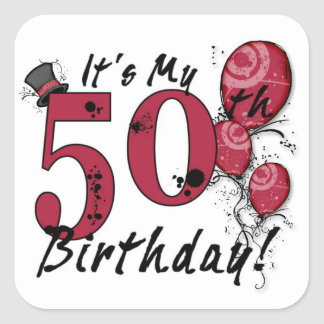 It's my 50th birthday grunge balloon stickers