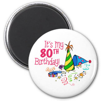 It's My 80th Birthday (Party Hats) 6 Cm Round Magnet