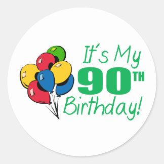It's My 90th Birthday (Balloons) Round Sticker
