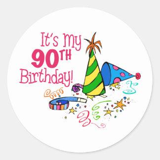 It's My 90th Birthday (Party Hats) Round Sticker