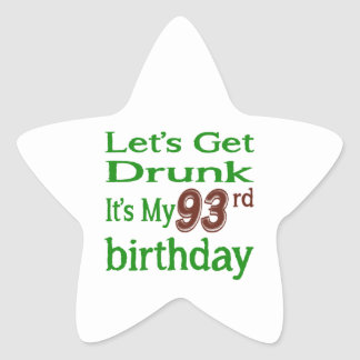 It's My 93rd Birthday Star Sticker