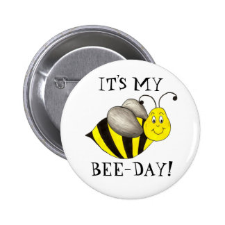 It's My Bee Day Bumblebee Birthday Girl Boy Button