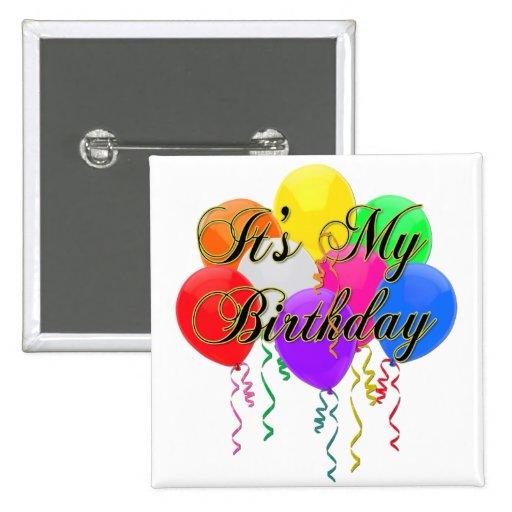 It's My Birthday Balloons Button