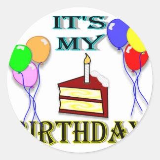 It's My Birthday with Cake Round Sticker