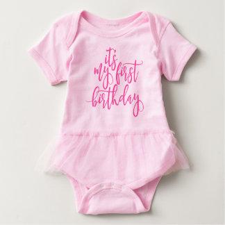It's My First Birthday Pink Handwritten Script Baby Bodysuit
