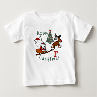 It's My First Christmas Santa Mouse Baby T-Shirt
