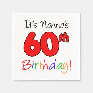 It's Nonno's 60th Birthday Fun Napkins Disposable Serviette