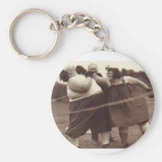 It's not over 'til the fat lady punches you! basic round button key ring