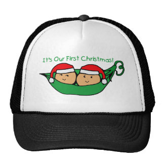 It's Our First Christmas Twin Pod  Trucker Hats