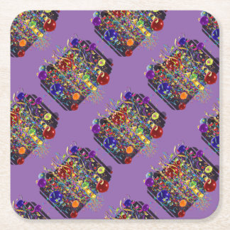 It''s Party Time!!!   in Purple Square Paper Coaster