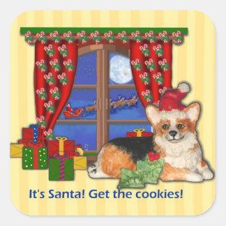 """It's Santa! Get the Cookies!"" Corgi Sticker"