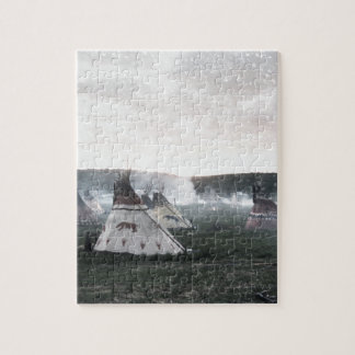 It's snowing on the camp jigsaw puzzle