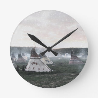 It's snowing on the camp wall clock