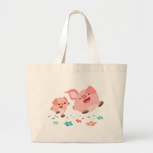 It's Spring!!-Two Cute Cartoon Pigs Bag