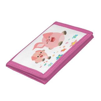 It's Spring!!-Two Cute Cartoon Pigs Wallet