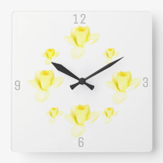 It's SPRING with Daffodils Square Wall Clock