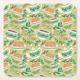 It's Tea Time Square Paper Coaster