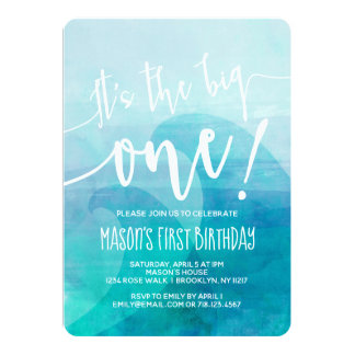 It's the Big One Wave 1st Birthday Invitation Surf