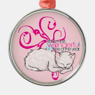 It's the Most Wonderful Time of the Year Cat Art Christmas Tree Ornaments